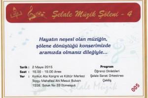 şelale Müzik Merkezi konser davetiyesi.